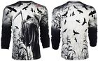AFFLICTION Mens LONG SLEEVE T-Shirt CORN REAPER Tattoo BLACK Biker UFC $68 image