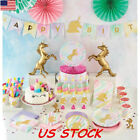 Unicorn Kids Birthday Party Supplies Banner Balloon Tablewar