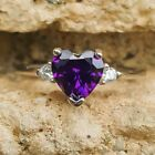 .925 Sterling Silver Ring CZ Heart Kids Ladies Midi size 3-12 Amethyst Thumb New image