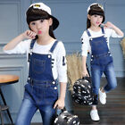 Kids Girls Casual Jeans Denim Overalls Bib Suspenders Pants Dungarees Jumpsuits