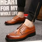 Leather Brogue Wingtip Lace Up Formal Dress Shoes oxford mens shoes Casual Vogue