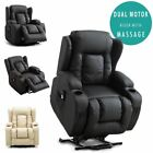 CAESAR DUAL MOTOR RISER RECLINER LEATHER MOBILITY ARMCHAIR MASSAGE HEATED CHAIR