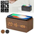 Wood Digital LED Desk Alarm Clock Thermometer Qi Wireless Charger for iPhone X/8