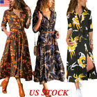 Autumn Women Long Sleeve Floral Shirt Dress Split Beach Casu