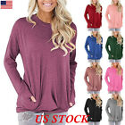 Women's Autumn Long Sleeve Round Neck Pullover Blouse Tops T Shirt Casual Pocket