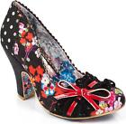 Irregular Choice Make My Day Women's Black High Heel Court Shoes With Bow New