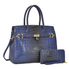 New Women Ostrich and Croco Handbag Embossed Satchel w Matching wallet Purse
