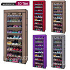 10 Tier Shoe Rack Adjustable Wall Bench Shelf Closet Organizer Storage Box Stand