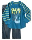 NWT Calvin Klein 2 PC Baby Boy Outfit Set Blue12-18-24 Mo REDUCED TO CLEAR