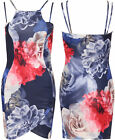 Womens Floral Print Mini Dress Ladies Strappy Sleeveless Short Bodycon Stretch