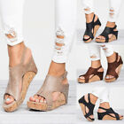Summer Womens Leather Ankle Strap Peep Toe Sandals Platform Wedge Shoes Plus