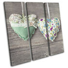 Hearts Crochet Shabby Chic Wooden Love TREBLE CANVAS WALL ART Picture Print