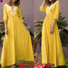 Boho Women Sexy V Neck Long Maxi Dress Long Sleeve High Wias