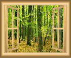VWAQ 1X Autumn Forest Window Wall Decal Peel and Stick Mural
