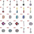 European Silver Charms Crystal Xmas Beads CZ Pendant Fit 925 Sterling Bracelets image