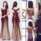 Woman Red Sequins Long Mermaid Bridesmaid Dresses Evening Prom Party Dresses