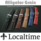 Localtime Gator-Grain Superior Calf Leather Padded Watch Strap 16-24mm 6 Colours