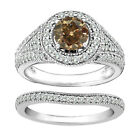 1 Carat Brown Round Diamond Solitaire Halo Promise Bridal Ring 14K White Gold