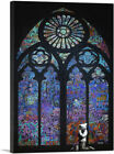 ARTCANVAS Graffiti Stained Glass - Blue Canvas Art Print by Banksy