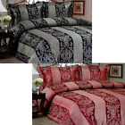 Black or Burgundy - 3 Pce Luxury Jacquard Damask Quilt Cover Set QUEEN