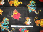 Oriental Crane Dragon cotton quilting fabric *Choose design & size