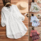 ZANZEA Women V Neck Long Sleeve Floral Loose Top Casual Embroidered Shirt Blouse