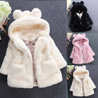 Baby Kids Girls Princess Warm Coat Fleece Jacket Fur Hooded Outwear Overcoat KI
