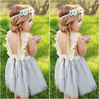 New Toddler Girls Party Princess Tutu Dress Backless Kids Baby Tulle Sundress KI