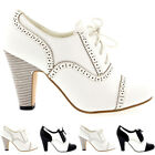 Ladies Block Heel Evening Party Mary Jane Lace Up Ankle High Mid Heels All Sizes