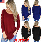 Womens Long Sleeve Strappy Cold Shoulder T-Shirt Tops Blouses Pullover Jumper US