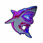 Shock and Awww Designer Large Leather Glitter Shark Iron, Sew on Appliqué Patch