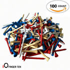 "Golf Tees 2 3 4 Blue 100 Count 2.75"" Hardwood Natural Red/White/Mixed Callaway"