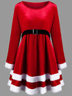 Adults Ladies Mrs Santa Claus Velvet Fancy Dress Womens Christmas Costume Outfit