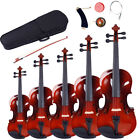 1/8 - 4/4 5 Sizes Acoustic Maple Violin Set w/Case +Bow +Rosin +Strings +Tuner