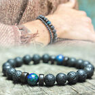 Men's Prayer Mala Beads Lava Rock Stone Chrysocolla Beaded Yoga Bracelets Gift