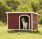 Premium Deluxe Wooden Dog Kennel Kennels With Apex Roof & Curtain Door - 3 Sizes