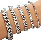 "3/6/8/9/12/15mm Mens Chain Curb Link Silver Tone Stainless Steel Bracelet 7""-9"""