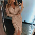 Sexy V-neck High Slit Party Dress Women Glitter Sequin Bodycon Midi Tunic Dress