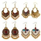 Vintage Boho Drop Long Earring Gold Carved Ethnic Dangle Earrings Women Jewelry