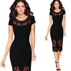 Womens Crochet Lace Floral Embroidered Slim Business Cocktail Party Pencil Dress