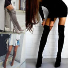 Womens Ladies Thigh High Boots Over The Knee Party Stretch Block Mid Heel 6-10.5
