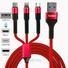 3in1 USB Charging Cable 3A Fast Charging iPhone/Micro USB/Type C Sync Charge NEW