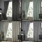 Anderton Chenille Jacquard Fully Lined Tape Top Curtains - Grey Blue Natural