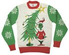 Adult Dr Seuss Grinch As Santa Next To Tree Off-White Ugly Christmas Sweater
