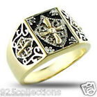 925 Sterling Silver Knights Templar Crest No Stone Two Tone Men Ring Size 8-14