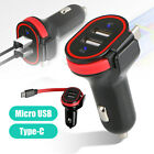 Dual USB Car Charger Fast Charging w/ Micro USB / Type-C Cable for Android Phone