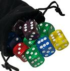 Set of (5) 16mm Dice Transparent 6-Sided Round Cornered with Black Velvet Cloth