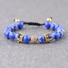 Luxury CZ Double Crown Balls Red Turquoise & Blue Stone Couples Bracelets Gifts