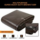 Super Heavy Duty 16 Mil Brown Poly Tarp Cover Thick Waterproof UV Resistant Rot