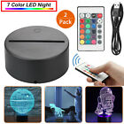 1/2x LED Lamp Base 3D Night Light Acrylic Plate Panel Holder+Remote+USB Cable
